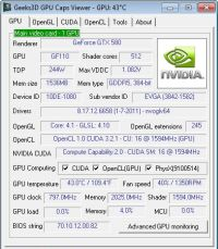 GPU Caps Viewer, video card information utility, OpenGL, OpenCL and CUDA API level support