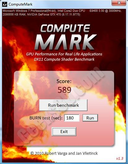 ComputeMark - DX11 DirectCompute benchmark - GeForce GTX 470