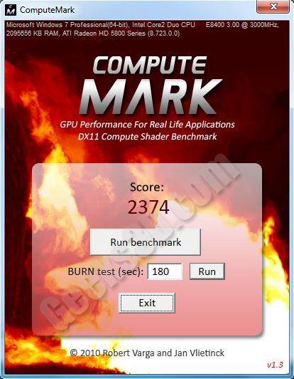 ComputeMark - DX11 DirectCompute benchmark - Radeon HD 5870