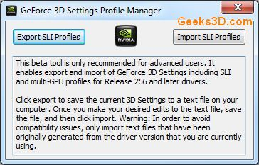 GeForce SLI Profile Tool
