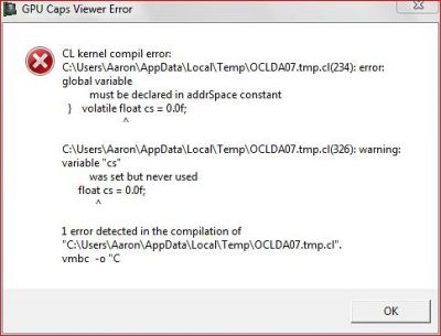 OpenCL error - GPU Caps Viewer