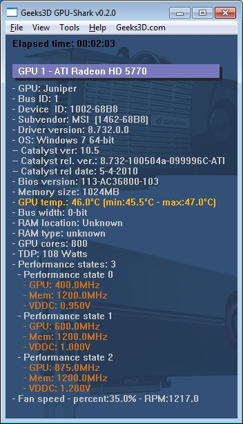 ATI Catalyst 10.5 - HD 5770 - GPU Shark