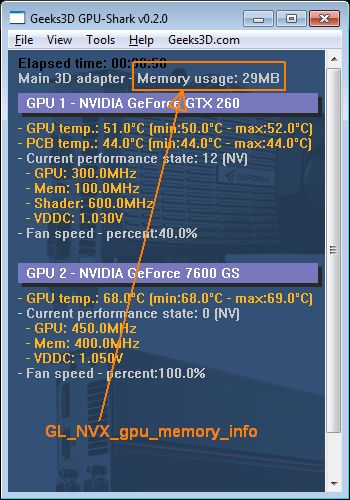 Memory usage - OpenGL - GeForce  GTX 260