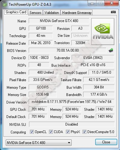 GPU-Z GeForce GTX 480