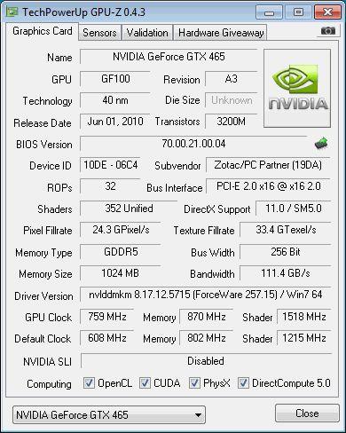 GTX 465 - GPU-Z