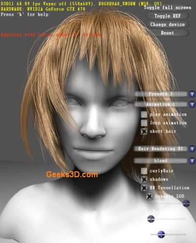 NVIDIA GeForce GTX 400 Hair rendering demo