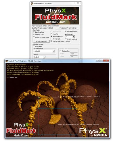 FluidMark 1.2.0 with multi-core CPU PhysX support