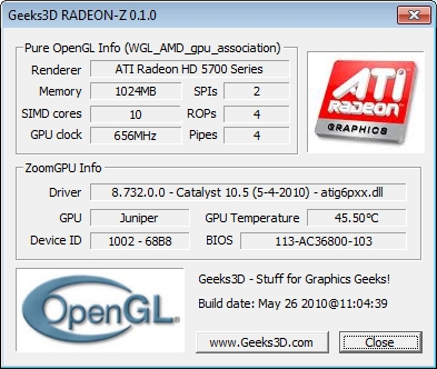 RADEON-Z: OpenGL information utility for Radeon graphics cards