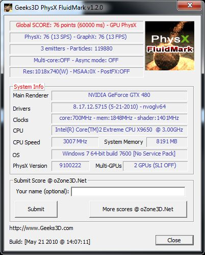 PhysX FluidMark - GTX480 + GT240 score