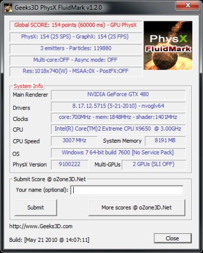 PhysX FluidMark - GTX480 score