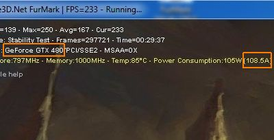 FurMark and an overclocked GTX 480: 108 amperes