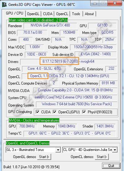 OpenCL 1.1 - R258.19 + GTX 480