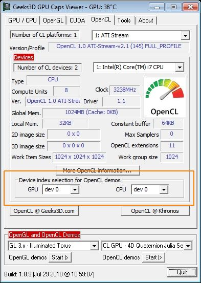 GPU Caps Viewer  - OpenCL panel