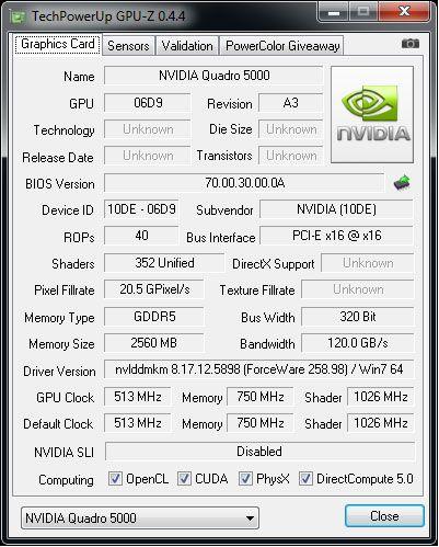 NVIDIA Quadro 5000 and GPU-Z