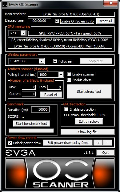 EVGA OC Scanner settings