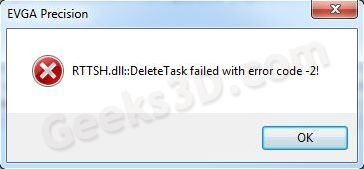 EVGA Precision - task scheduler helper error