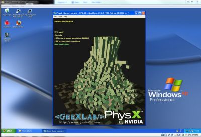 GeeXLab running a PhysX demo in VirtualBox (host: Win7, guest: WinXP)