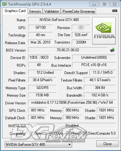 GeForce GTX 480 512 cores