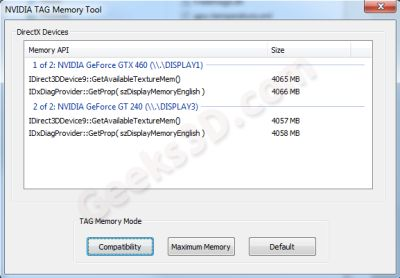 NVIDIA TAG Memory Tool