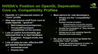 NVIDIA position on OpenGL 4 deprecation