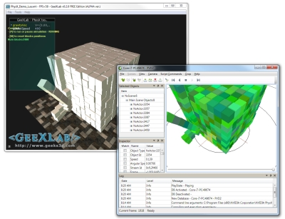 NVIDIA PhysX Visual Debugger and GeeXLab