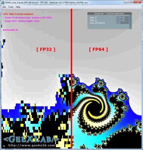 GeeXLab, Julia fractal, FP64 in GLSL