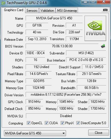 MSI N450GTS Cyclone, GPU-Z