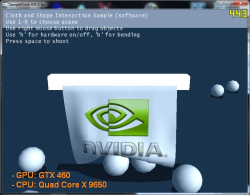 NVIDIA PhysX 2.8.4 cloth CPU demo