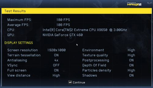 Tom Clancy's H.A.W.X. 2 Benchmark score, GTX 460