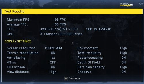 HAWX2 - Radeon HD 5870 score
