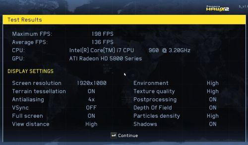 HAWX2 - Radeon HD 5870 score