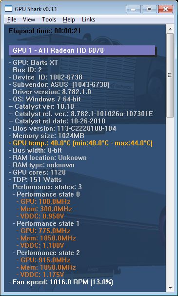 GPU Shark 0.3.1 with Radeon HD 6870 support