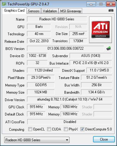 ASUS EAH6870, GPU-Z