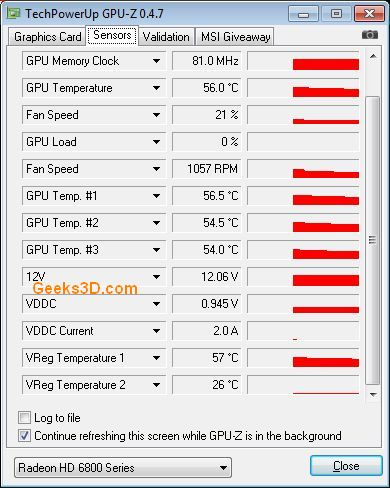 ASUS EAH6870, GPU-Z sensors