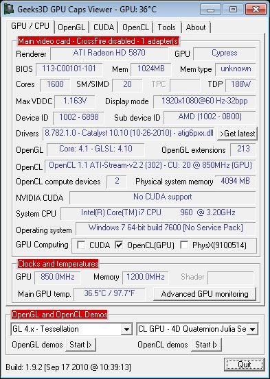 GPU Caps Viewer + Catalyst 10.10c + Radeon HD 5870
