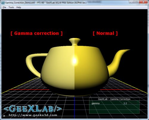 GeeXLab - Gamma correction
