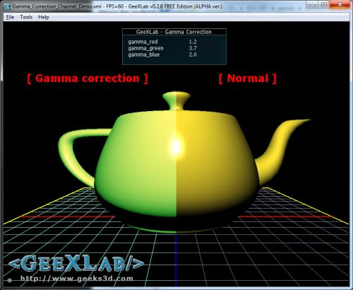gamma correction for red, green and blue channels