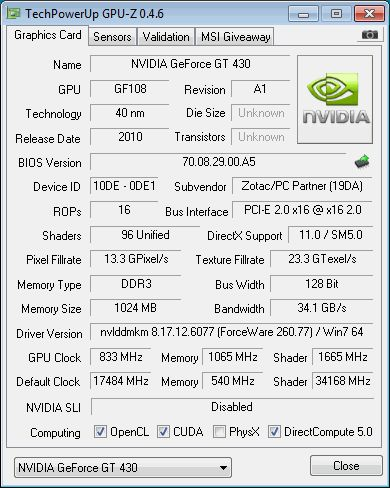 NVIDIA GeForce GT 430 + GPU-Z