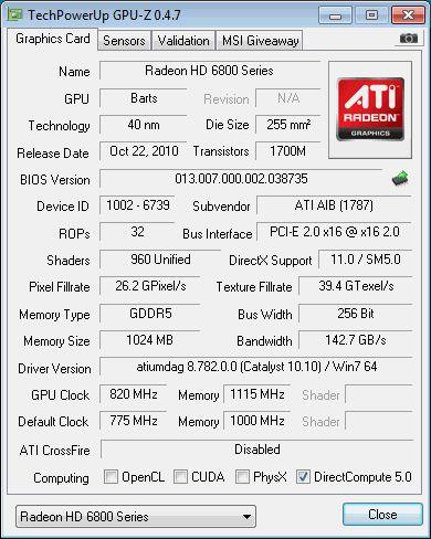 HD 6850, GPU-Z
