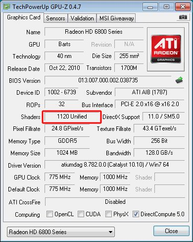 Radeon HD 6850 with 1120 cores