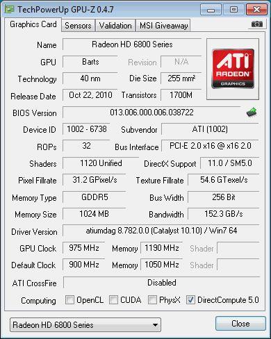 HD 6870, GPU-Z