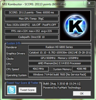 AMD Radeon HD 6870 score in MSI Kombustor