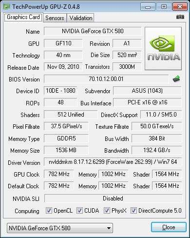 ASUS ENGTX580, GPU-Z