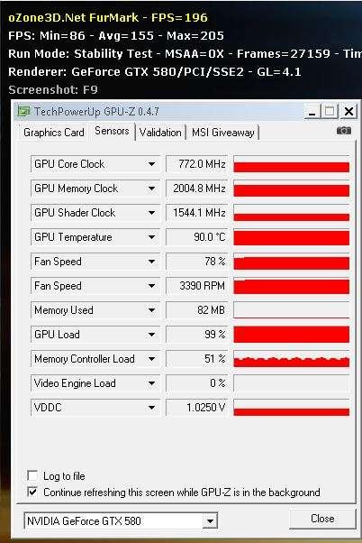 GTX 580 - FurMark 1.6.0