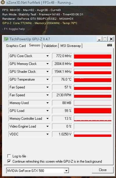 GTX 580 - FurMark 1.8.2