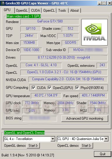 GTX 580 - Unigine Heaven score