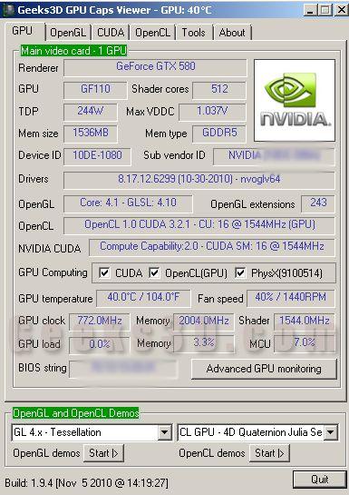 GTX 580 - Unigine Heaven score