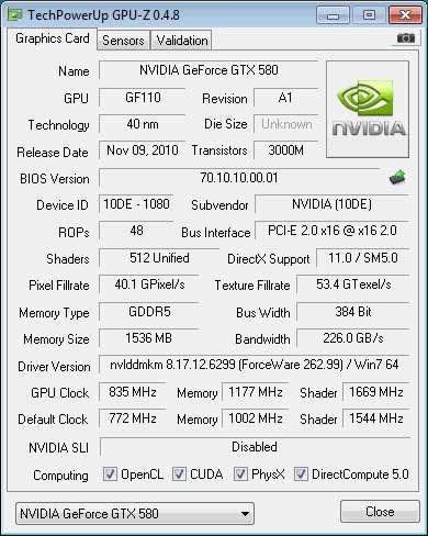 GTX 580 - GPU-Z