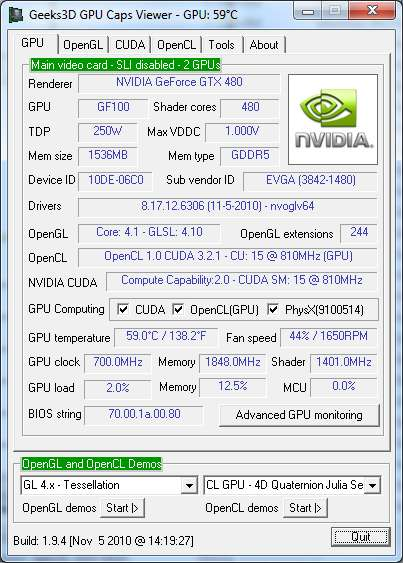 NVIDIA R263.06 +  GTX 480 - GPU Caps Viewer