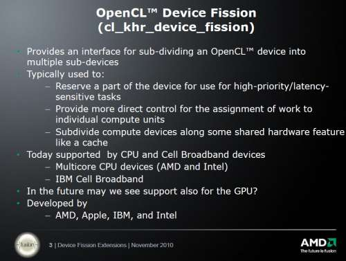 AMD OpenCL whitepapers: Device Fission Extension